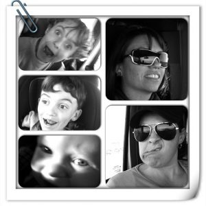 silly face car trip collage