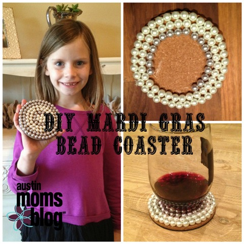 DIY Coasters from Mardi Gras Beads