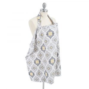 """Like the bright lights and city streets of New York, the Bebe au Lait nursing cover in """"Astoria"""" is contemporary and chic in shades of yellow and gray"""