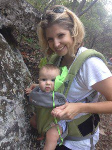 baby and krista hiking amb