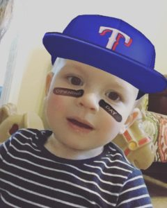 My son Parker with the baseball Opening Day filter.