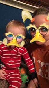 Katie Taylor and her son Wesley with the duck filter