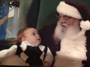 1st picture with Santa 2007