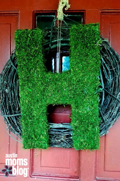 diy spring craft moss letter