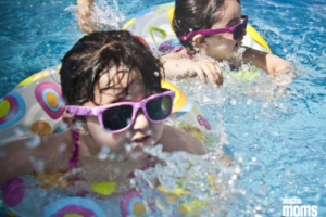 pool with two kids