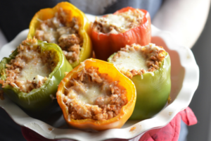Honeysuckle White Hatch Chili Stuffed Peppers | Austin Moms Blog | Erin Ruoff | Ground Turkey Recipes