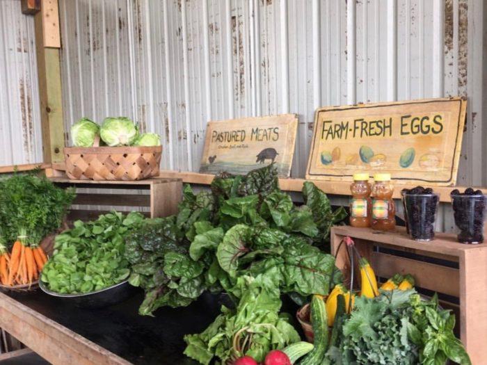 produce at Green Gate Farms farm stand in Austin, Texas