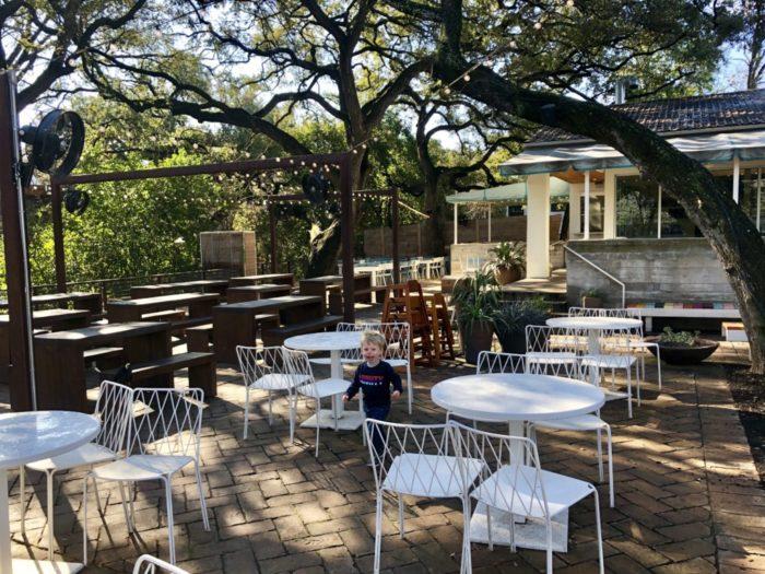 outdoor patio at Fresa's restaurant in Austin, Texas
