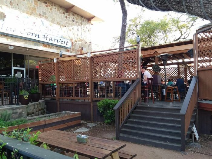 outdoor patio at Blue Corn Harvest restaurant in Georgetown, Texas