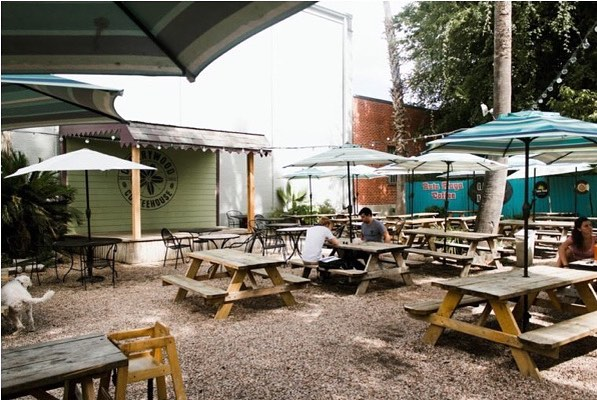 outdoor patio at cherrywood coffeehouse in austin, texas