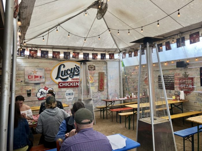 outdoor patio at lucy's fried chicken in austin, texas