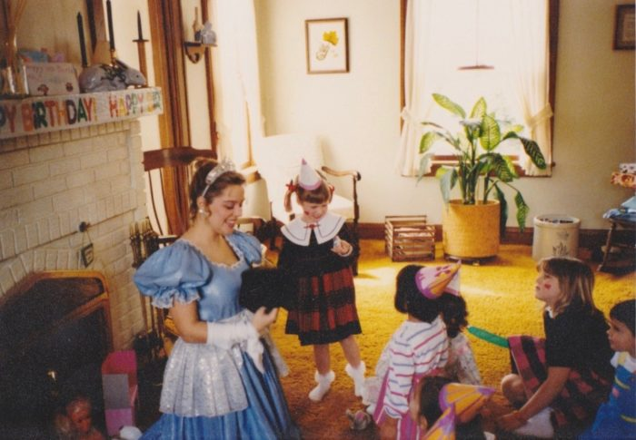 birthday party with little girls and princess character in the 1980s