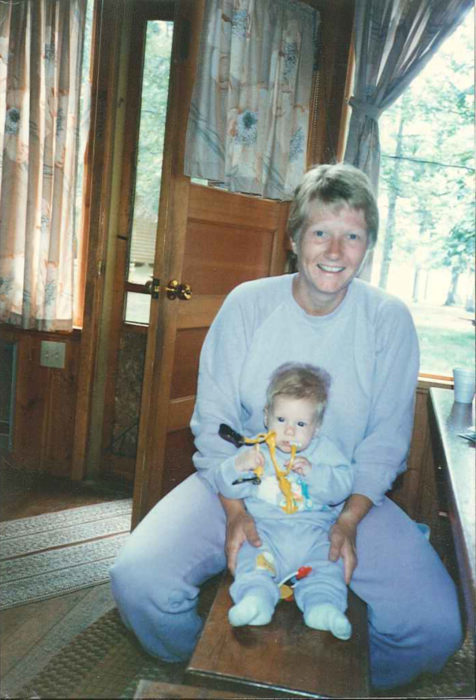 mother and baby in matching outfits in the 1980s