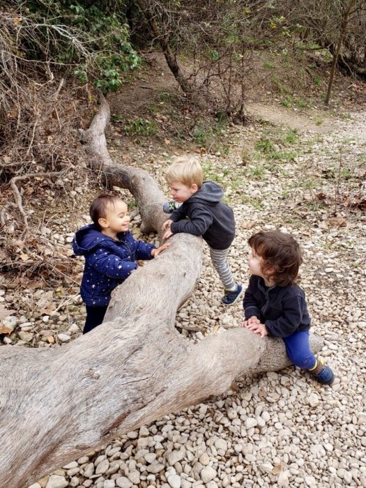 three toddlers climbing on a log