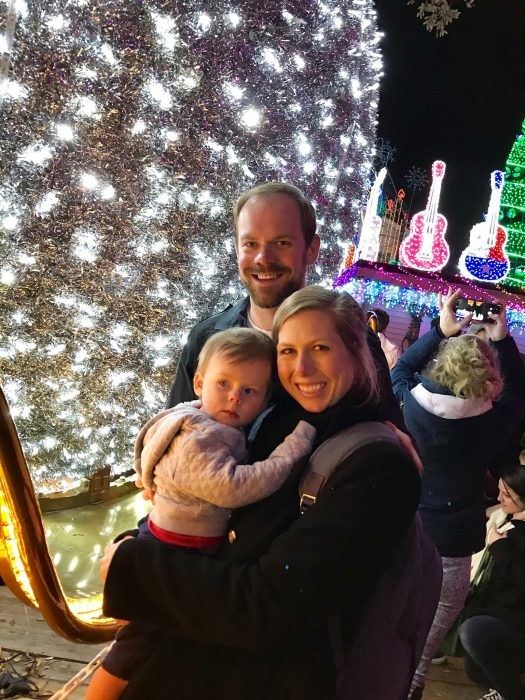 family at the Mozart's Light Show in Austin, Texas